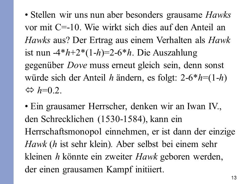 13 Stellen wir uns nun aber besonders grausame Hawks vor mit C=-10. Wie wirkt sich dies auf den Anteil an Hawks aus? Der Ertrag aus einem Verhalten al