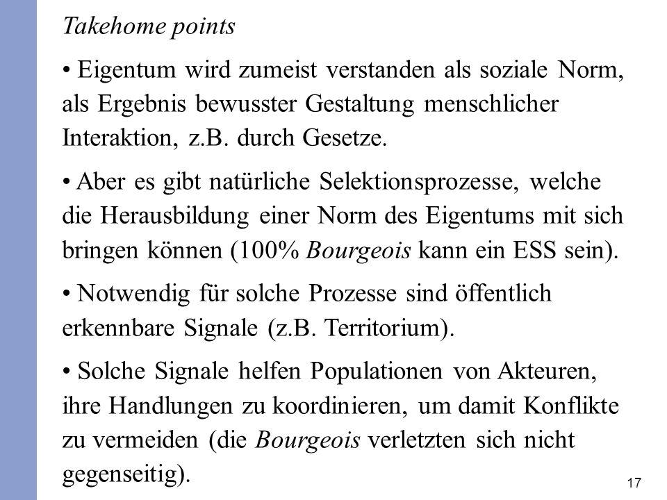 17 Takehome points Eigentum wird zumeist verstanden als soziale Norm, als Ergebnis bewusster Gestaltung menschlicher Interaktion, z.B. durch Gesetze.