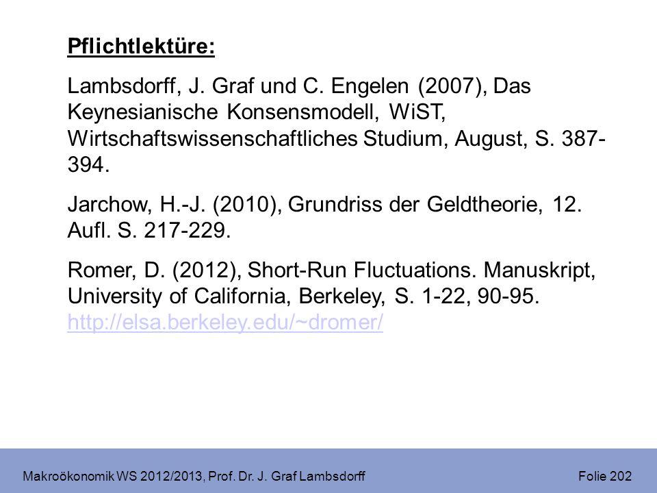 Makroökonomik WS 2012/2013, Prof.Dr. J. Graf Lambsdorff Folie 223 V.
