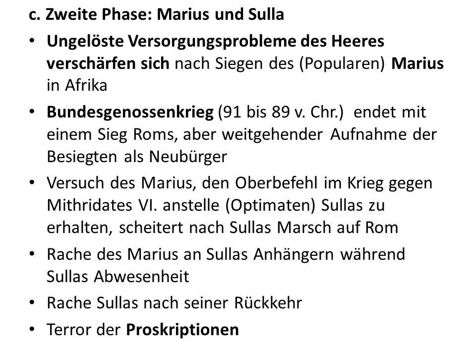 c. Zweite Phase: Marius und Sulla Ungelöste Versorgungsprobleme des Heeres verschärfen sich nach Siegen des (Popularen) Marius in Afrika Bundesgenosse
