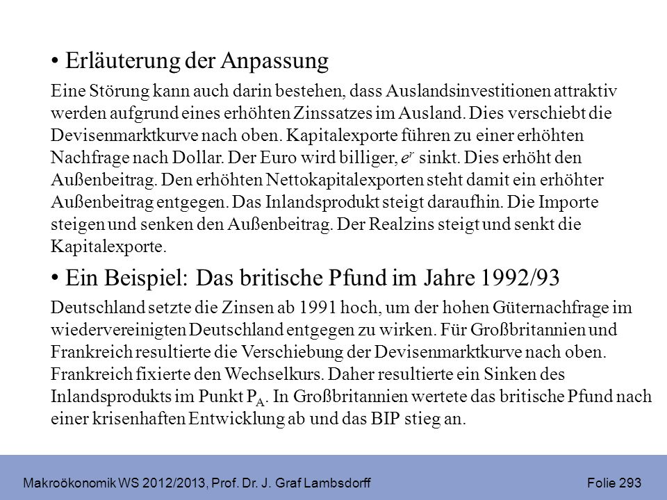 Makroökonomik WS 2012/2013, Prof. Dr. J. Graf Lambsdorff Folie 293 Erläuterung der Anpassung Eine Störung kann auch darin bestehen, dass Auslandsinves