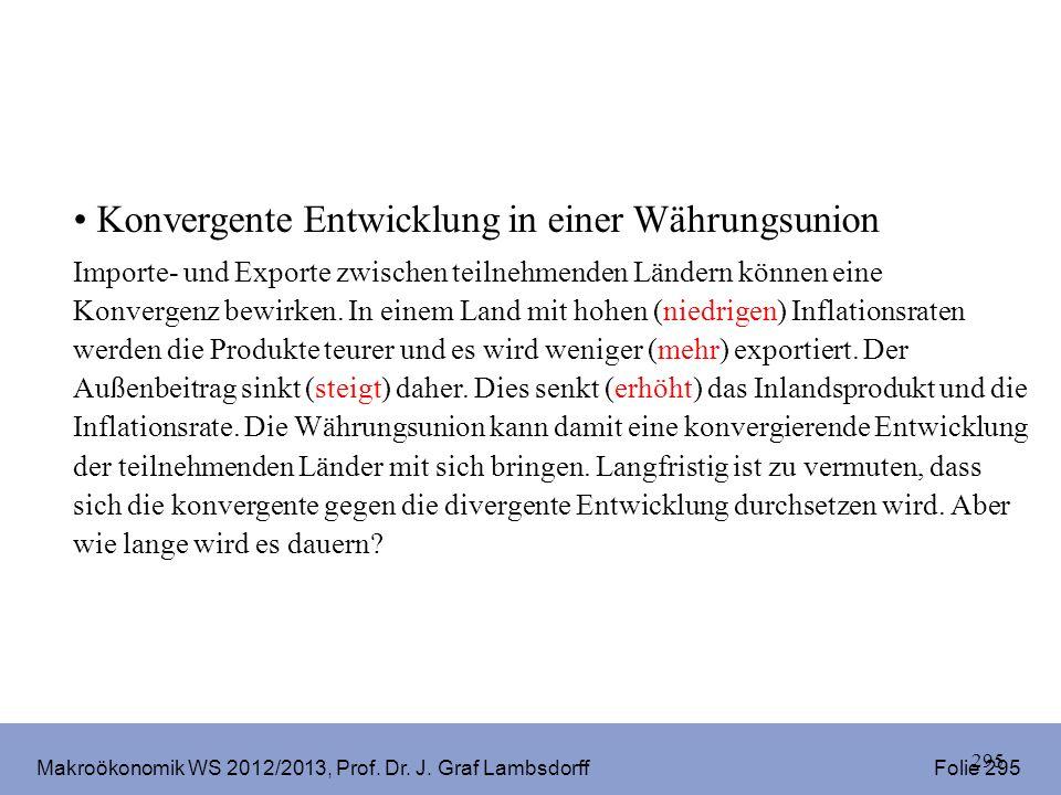 Makroökonomik WS 2012/2013, Prof. Dr. J. Graf Lambsdorff Folie 295 295 Konvergente Entwicklung in einer Währungsunion Importe- und Exporte zwischen te
