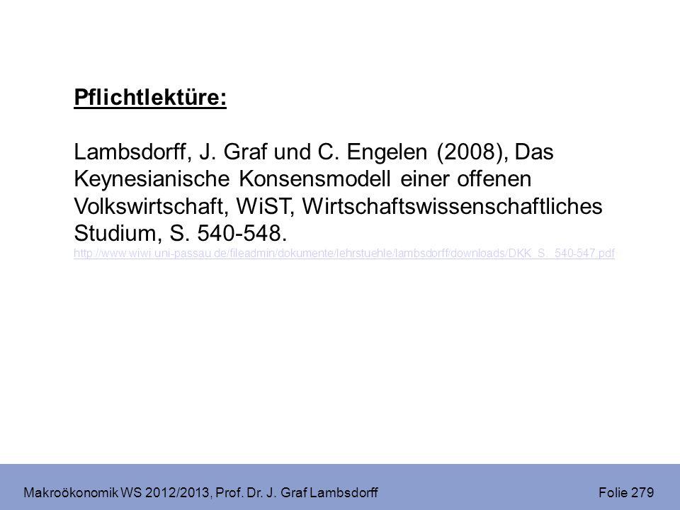 Makroökonomik WS 2012/2013, Prof. Dr. J. Graf Lambsdorff Folie 279 Pflichtlektüre: Lambsdorff, J. Graf und C. Engelen (2008), Das Keynesianische Konse