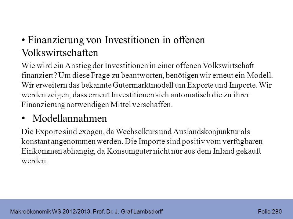 Makroökonomik WS 2012/2013, Prof. Dr. J. Graf Lambsdorff Folie 280 Finanzierung von Investitionen in offenen Volkswirtschaften Wie wird ein Anstieg de