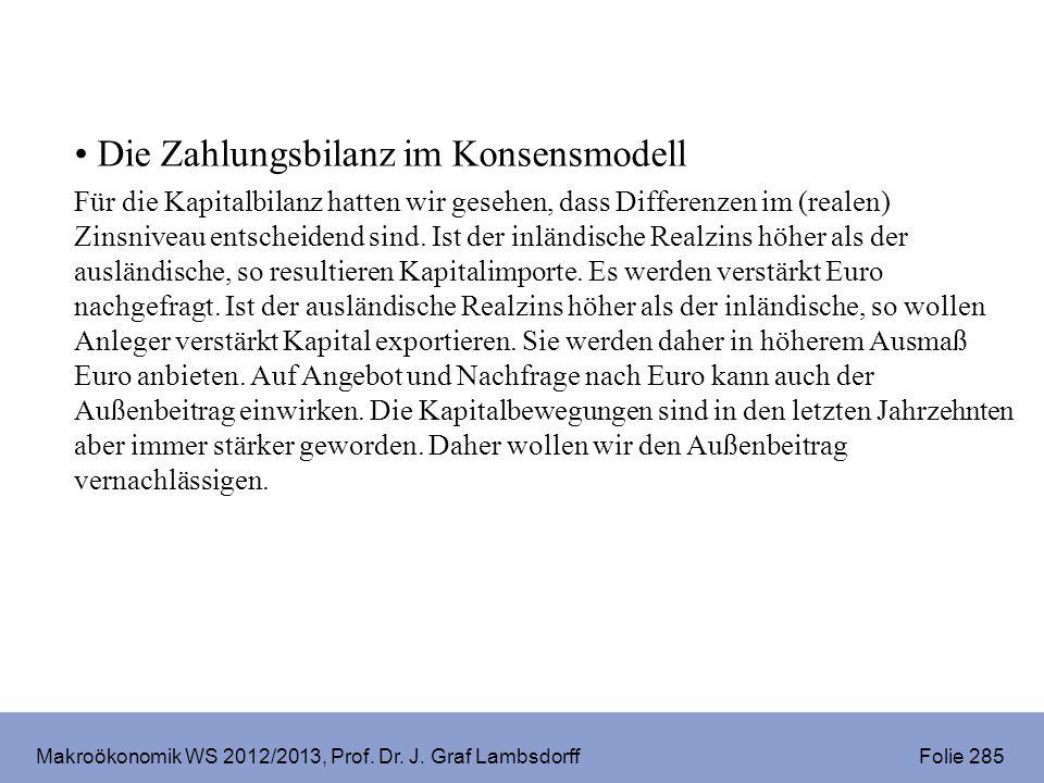 Makroökonomik WS 2012/2013, Prof. Dr. J. Graf Lambsdorff Folie 285 Die Zahlungsbilanz im Konsensmodell Für die Kapitalbilanz hatten wir gesehen, dass