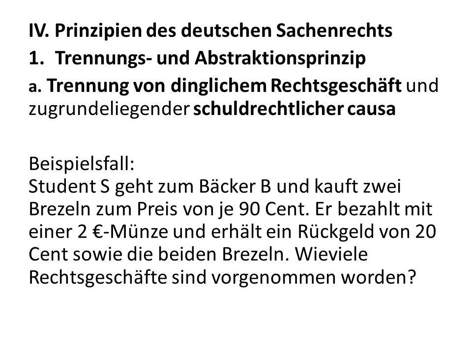 IV. Prinzipien des deutschen Sachenrechts 1.Trennungs- und Abstraktionsprinzip a. Trennung von dinglichem Rechtsgeschäft und zugrundeliegender schuldr