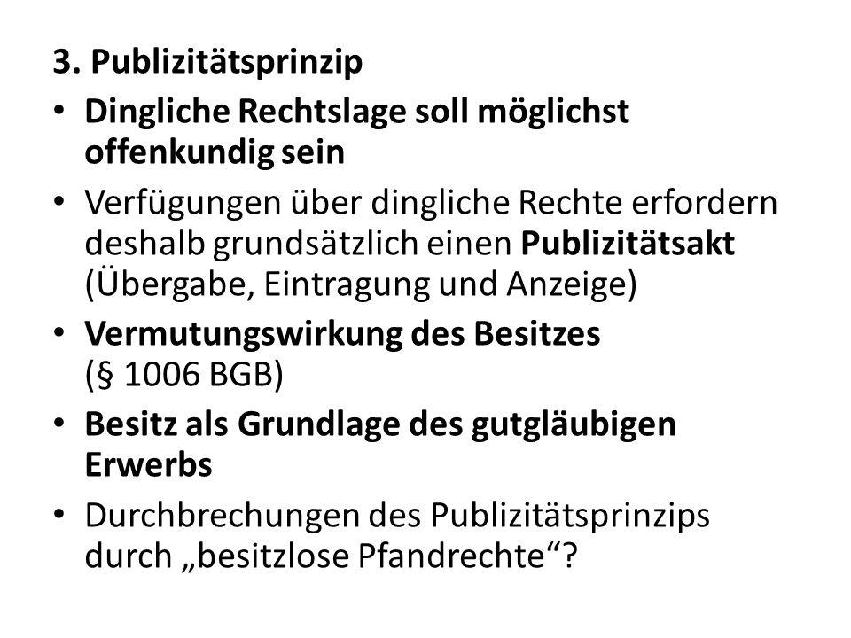 3. Publizitätsprinzip Dingliche Rechtslage soll möglichst offenkundig sein Verfügungen über dingliche Rechte erfordern deshalb grundsätzlich einen Pub