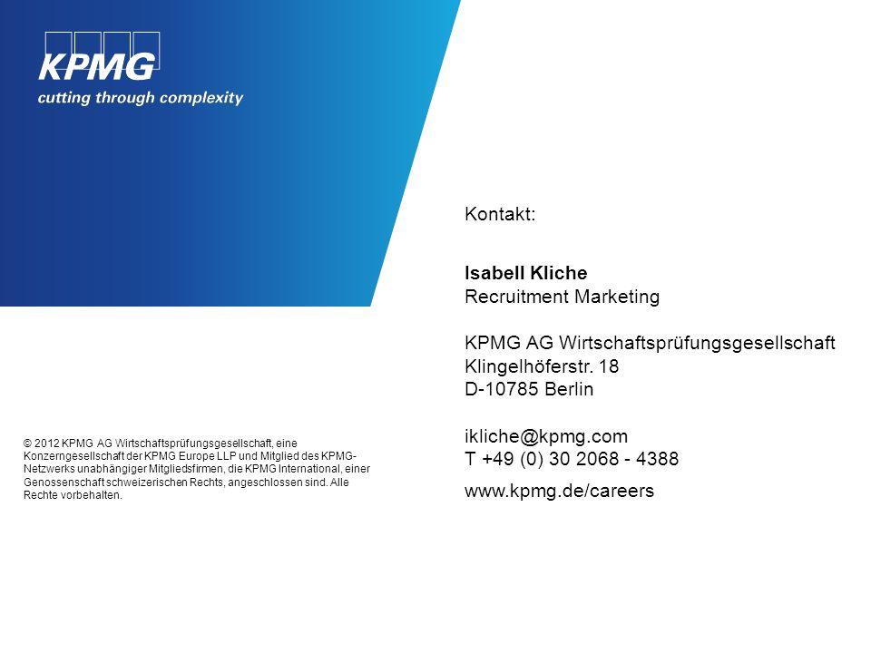 © 2012 KPMG AG Wirtschaftsprüfungsgesellschaft, eine Konzerngesellschaft der KPMG Europe LLP und Mitglied des KPMG- Netzwerks unabhängiger Mitgliedsfi
