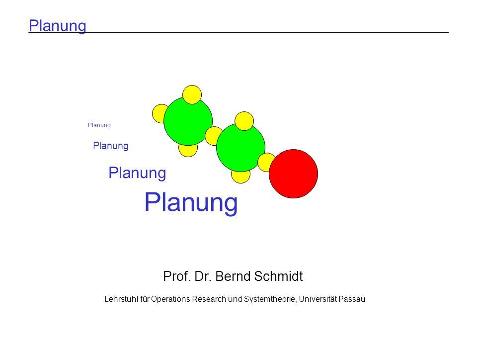 Lehrstuhl für Operations Research und SystemtheoriePlanenFolie 12 A = 6 B = 6 C = 4 Planung Breitensuche: Verbotene Zustände Beispiel: arithmetische Umformung A = 1 B = 2 C = 3 A = 4 B = 3 C = 4 A = 3 B = 1 C = 4 A > 0 A=A+3 B=B+1 C=C+1 B < 3 A=A+2 B=B-1 C=C+1 Aktionsauswahl: A > 0 A=A+3 B=B+1 C=C+1 B < 3 A=A+2 B=B- 1 C=C+1 C > 3 A=A+2 B=B+3 C=C Verbotener Zustand C > 3 A=A+2 B=B+3 C=C A = 7 B = 4 C = 5 A > 0 A=A+3 B=B+1 C=C+1 Verbotene Zustände: A = 6 B = 6 C = 4 A = 9 B = 7 C = 5