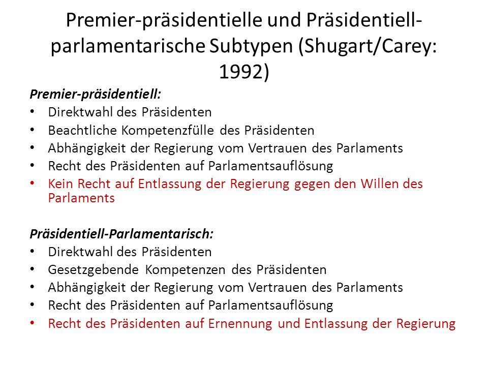 Premier-präsidentielle und Präsidentiell- parlamentarische Subtypen (Shugart/Carey: 1992) Premier-präsidentiell: Direktwahl des Präsidenten Beachtlich