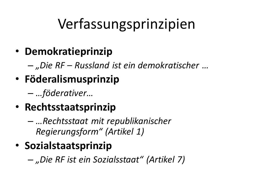 Verfassungsprinzipien Demokratieprinzip – Die RF – Russland ist ein demokratischer … Föderalismusprinzip – …föderativer… Rechtsstaatsprinzip – …Rechts