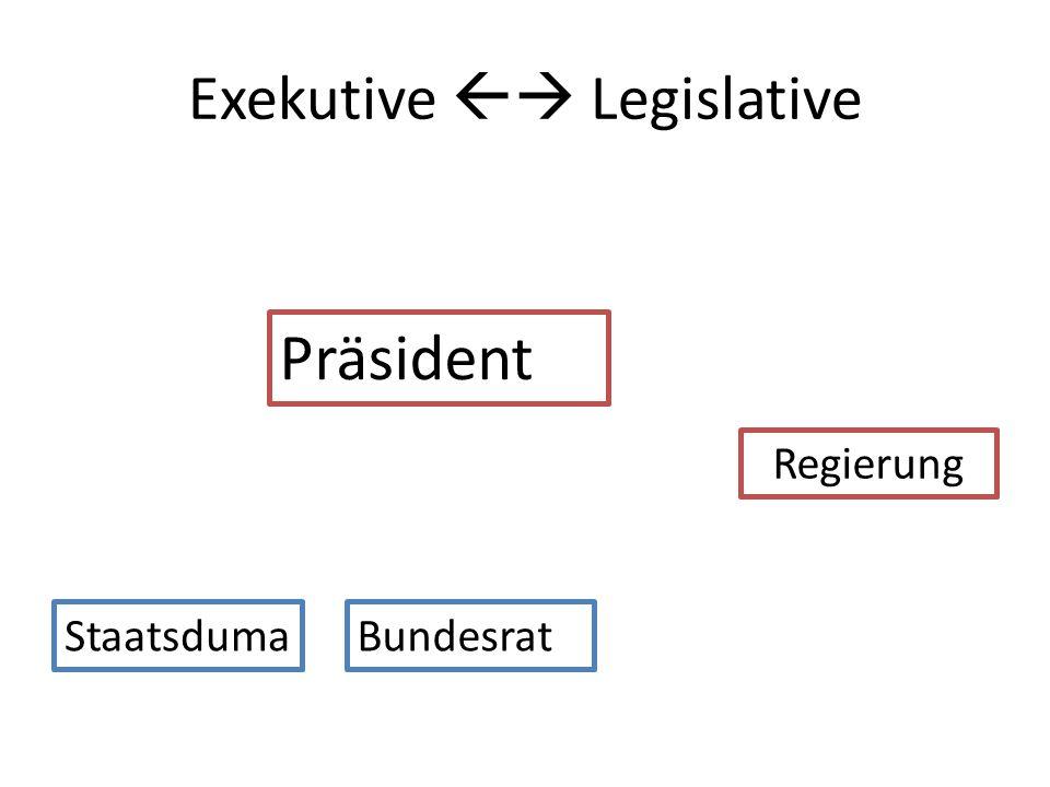 Exekutive Legislative Präsident StaatsdumaBundesrat Regierung