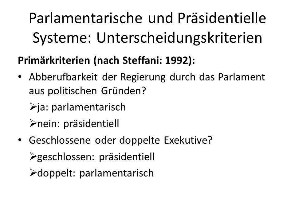 Parlamentarische und Präsidentielle Systeme: Unterscheidungskriterien Primärkriterien (nach Steffani: 1992): Abberufbarkeit der Regierung durch das Pa