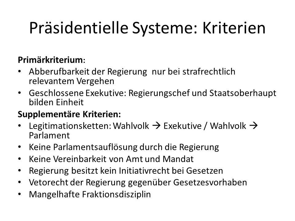 Präsidentielle Systeme: Kriterien Primärkriterium : Abberufbarkeit der Regierung nur bei strafrechtlich relevantem Vergehen Geschlossene Exekutive: Re