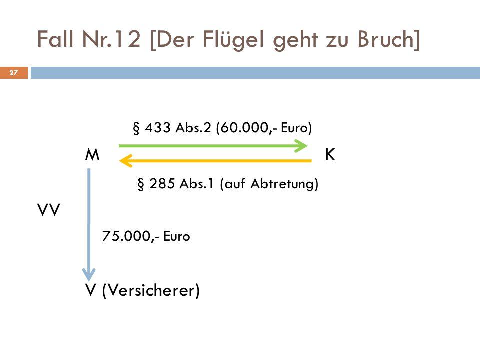 Fall Nr.12 [Der Flügel geht zu Bruch] 27 § 433 Abs.2 (60.000,- Euro) M K § 285 Abs.1 (auf Abtretung) VV 75.000,- Euro V (Versicherer)