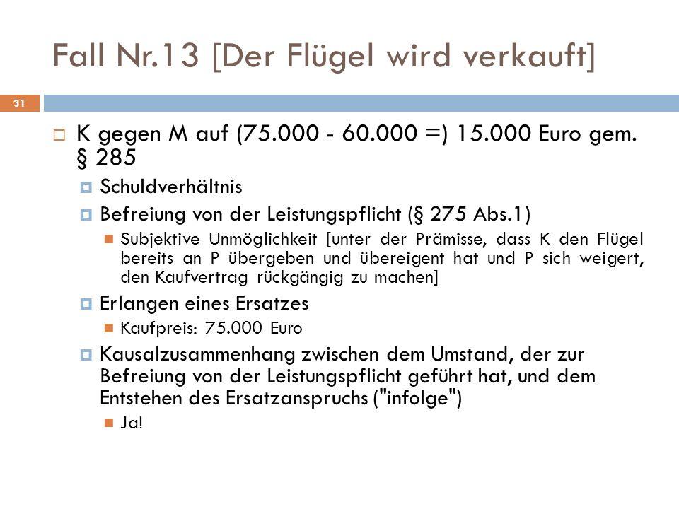 Fall Nr.13 [Der Flügel wird verkauft] 31 K gegen M auf (75.000 - 60.000 =) 15.000 Euro gem. § 285 Schuldverhältnis Befreiung von der Leistungspflicht