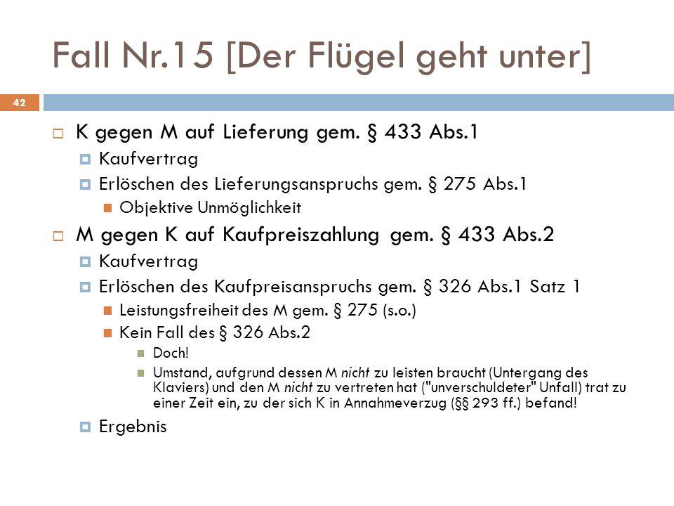 Fall Nr.15 [Der Flügel geht unter] 42 K gegen M auf Lieferung gem. § 433 Abs.1 Kaufvertrag Erlöschen des Lieferungsanspruchs gem. § 275 Abs.1 Objektiv