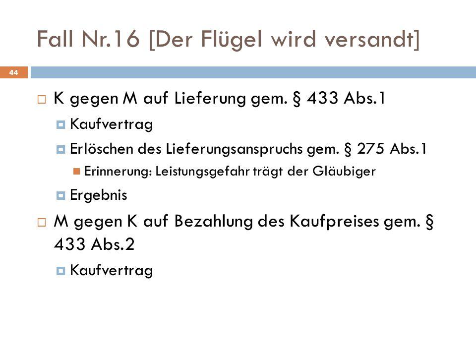 Fall Nr.16 [Der Flügel wird versandt] 44 K gegen M auf Lieferung gem. § 433 Abs.1 Kaufvertrag Erlöschen des Lieferungsanspruchs gem. § 275 Abs.1 Erinn