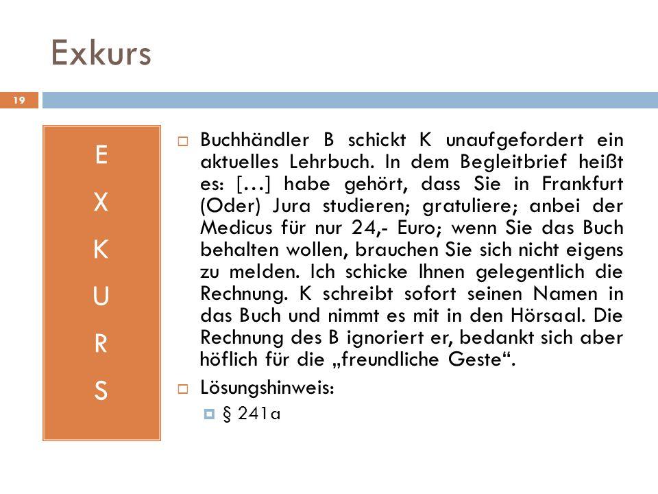 Exkurs 19 EXKURSEXKURS Buchhändler B schickt K unaufgefordert ein aktuelles Lehrbuch. In dem Begleitbrief heißt es: […] habe gehört, dass Sie in Frank