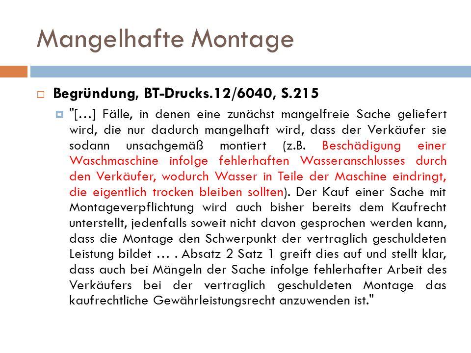 Ikea-Klausel § 434 Abs.2 Satz 2 Mangelhafte Montageanleitung