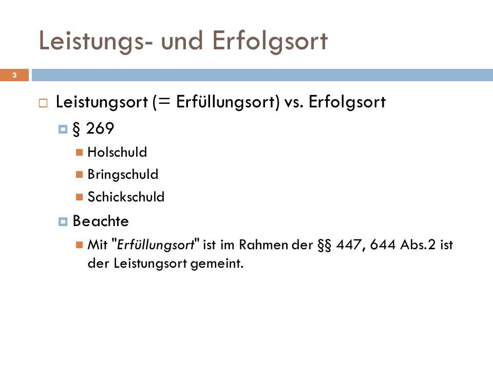 Leistungs- und Erfolgsort 4 Beachte Nach herrschender Meinung (Musielak, Grundkurs BGB, 11.