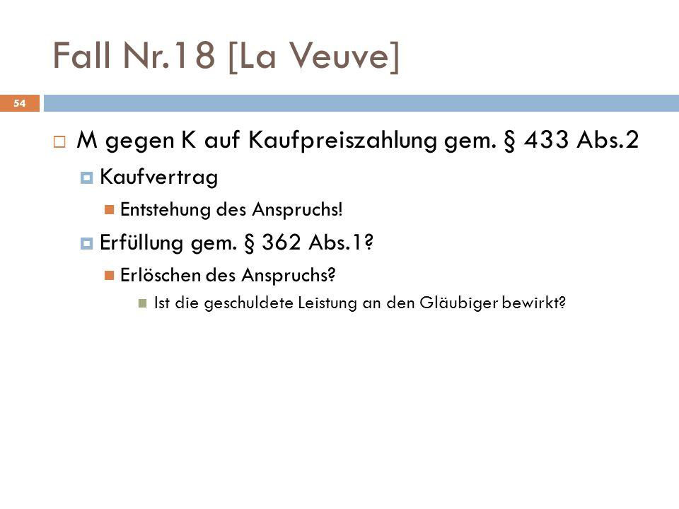 Fall Nr.18 [La Veuve] 54 M gegen K auf Kaufpreiszahlung gem. § 433 Abs.2 Kaufvertrag Entstehung des Anspruchs! Erfüllung gem. § 362 Abs.1? Erlöschen d