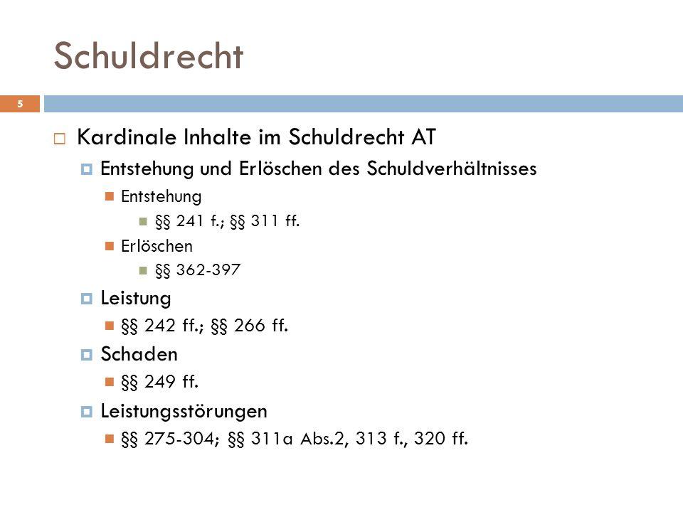 Schuldrecht 6 Kardinale Inhalte im Schuldrecht AT AGB-Kontrolle §§ 305 ff.