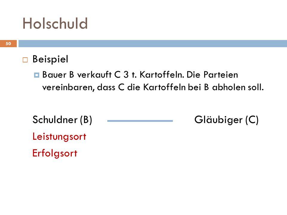 Holschuld 50 Beispiel Bauer B verkauft C 3 t. Kartoffeln. Die Parteien vereinbaren, dass C die Kartoffeln bei B abholen soll. Schuldner (B)Gläubiger (