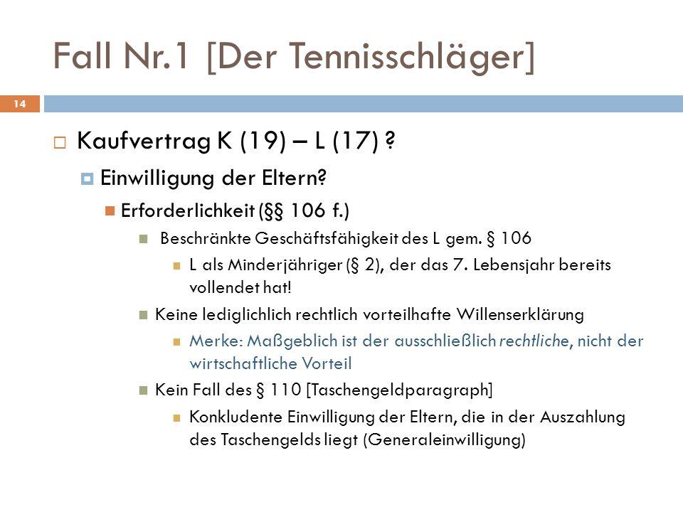 Fall Nr.1 [Der Tennisschläger] 14 Kaufvertrag K (19) – L (17) ? Einwilligung der Eltern? Erforderlichkeit (§§ 106 f.) Beschränkte Geschäftsfähigkeit d