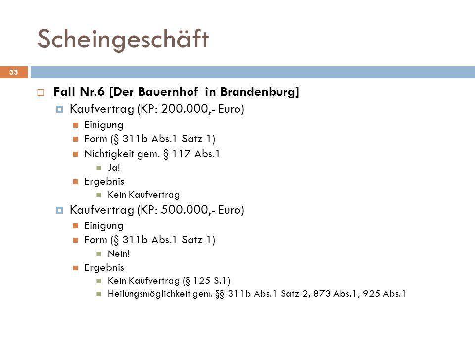Scheingeschäft 33 Fall Nr.6 [Der Bauernhof in Brandenburg] Kaufvertrag (KP: 200.000,- Euro) Einigung Form (§ 311b Abs.1 Satz 1) Nichtigkeit gem. § 117