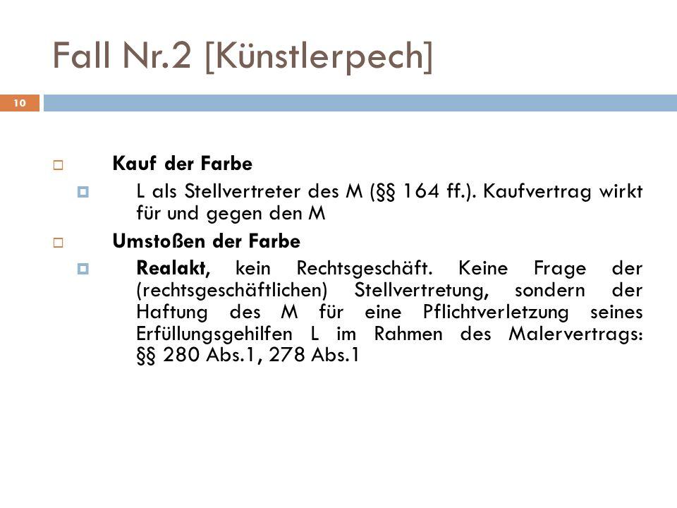 10 Fall Nr.2 [Künstlerpech] Kauf der Farbe L als Stellvertreter des M (§§ 164 ff.). Kaufvertrag wirkt für und gegen den M Umstoßen der Farbe Realakt,