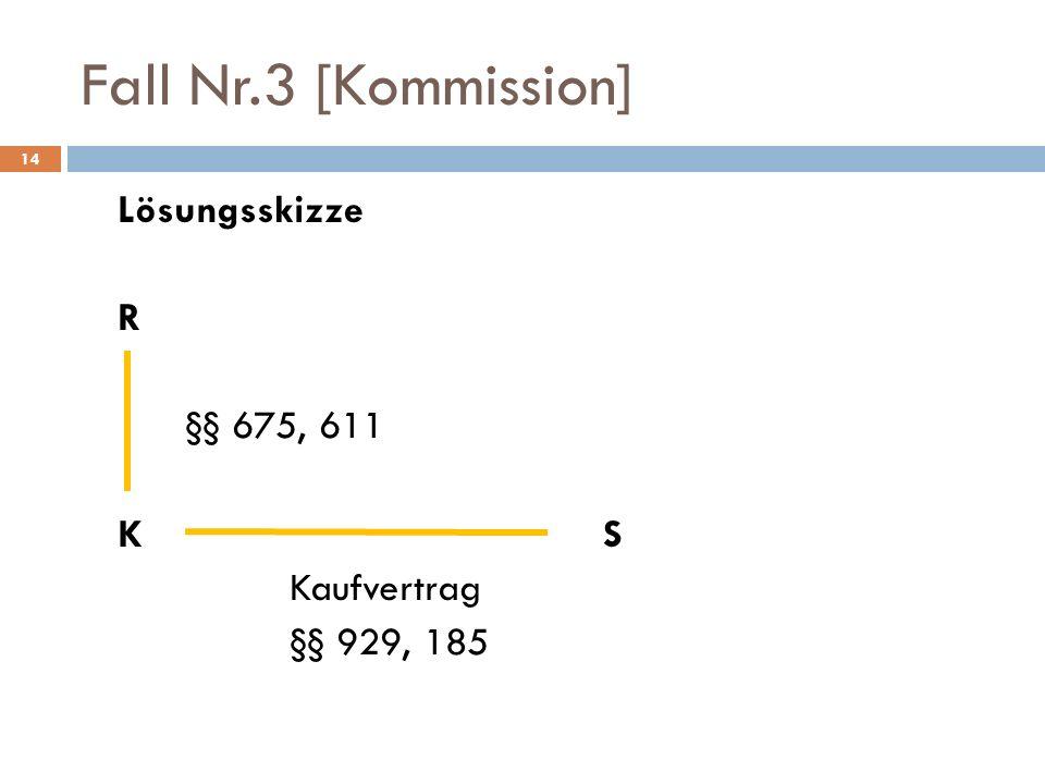 14 Fall Nr.3 [Kommission] Lösungsskizze R §§ 675, 611 KS Kaufvertrag §§ 929, 185