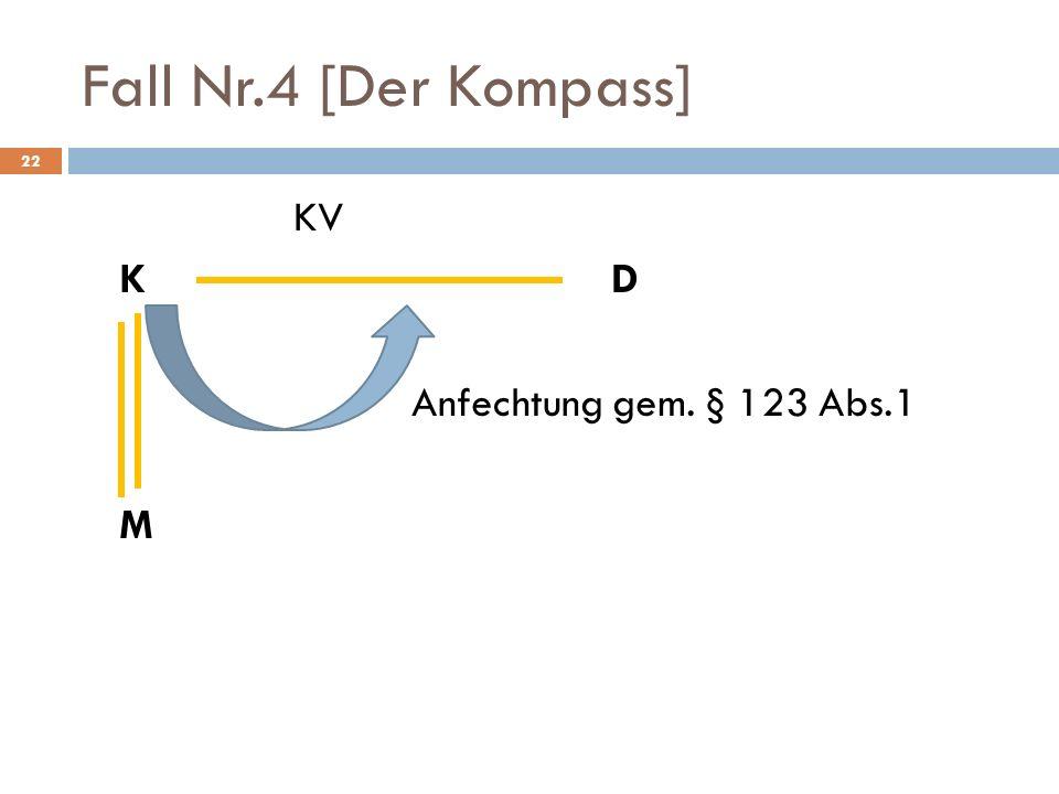 Fall Nr.4 [Der Kompass] 22 KV KD Anfechtung gem. § 123 Abs.1 M