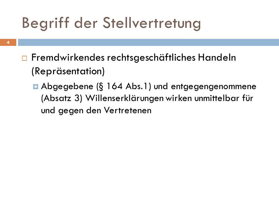 Begriff der Stellvertretung 4 Fremdwirkendes rechtsgeschäftliches Handeln (Repräsentation) Abgegebene (§ 164 Abs.1) und entgegengenommene (Absatz 3) W