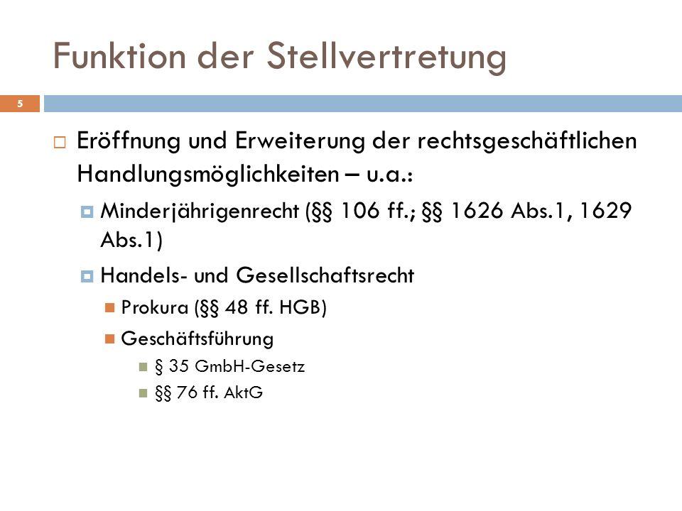 Funktion der Stellvertretung 5 Eröffnung und Erweiterung der rechtsgeschäftlichen Handlungsmöglichkeiten – u.a.: Minderjährigenrecht (§§ 106 ff.; §§ 1626 Abs.1, 1629 Abs.1) Handels- und Gesellschaftsrecht Prokura (§§ 48 ff.