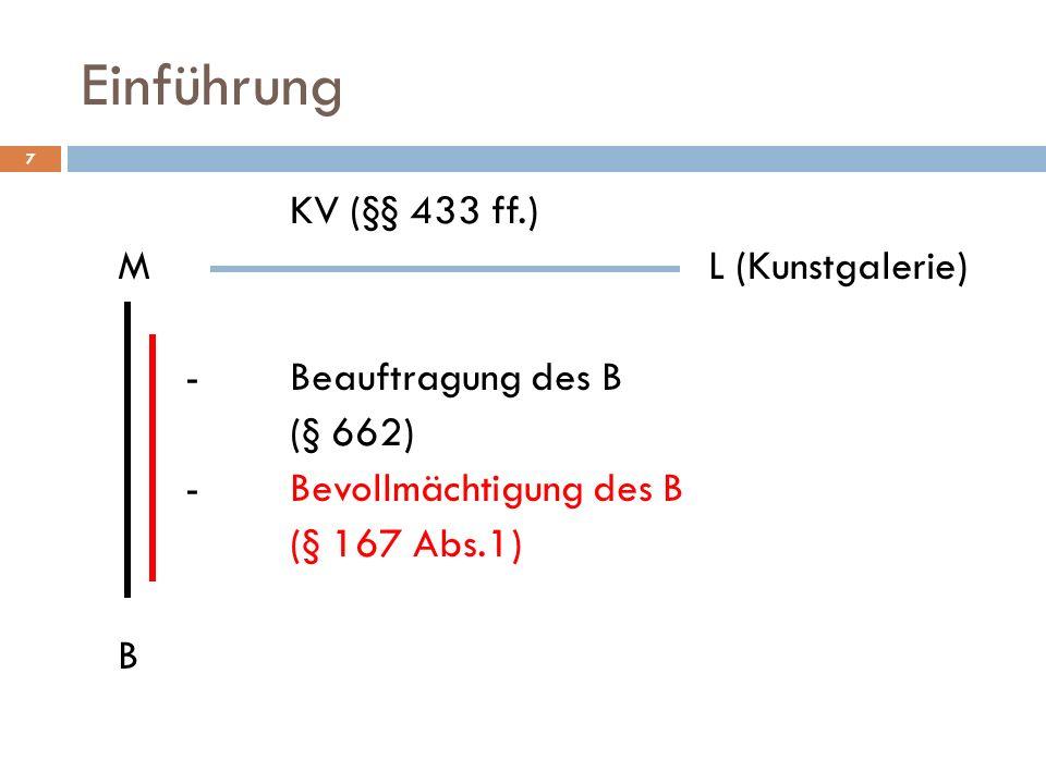 7 Einführung KV (§§ 433 ff.) ML (Kunstgalerie) -Beauftragung des B (§ 662) -Bevollmächtigung des B (§ 167 Abs.1) B