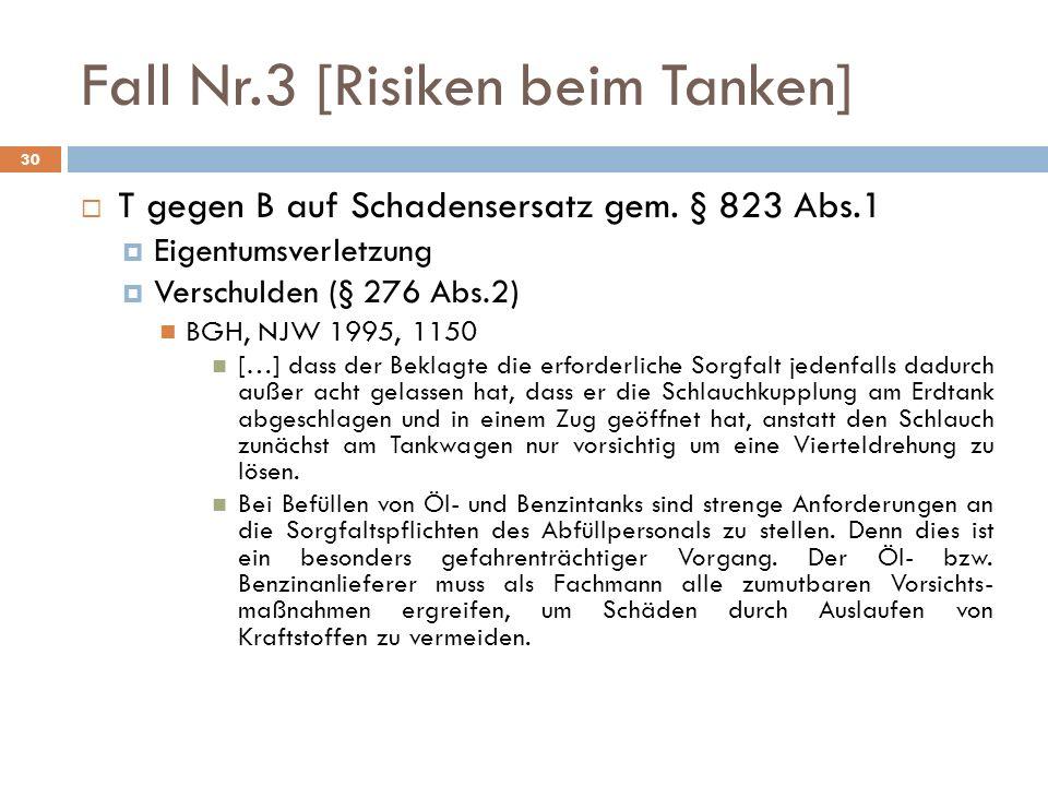 Fall Nr.3 [Risiken beim Tanken] 30 T gegen B auf Schadensersatz gem. § 823 Abs.1 Eigentumsverletzung Verschulden (§ 276 Abs.2) BGH, NJW 1995, 1150 […]