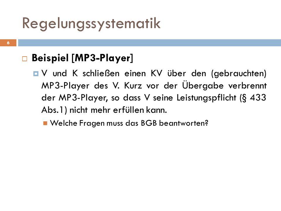 6 Beispiel [MP3-Player] V und K schließen einen KV über den (gebrauchten) MP3-Player des V. Kurz vor der Übergabe verbrennt der MP3-Player, so dass V