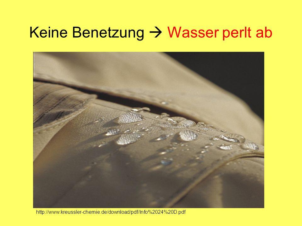 Keine Benetzung Wasser perlt ab http://www.kreussler-chemie.de/download/pdf/Info%2024%20D.pdf