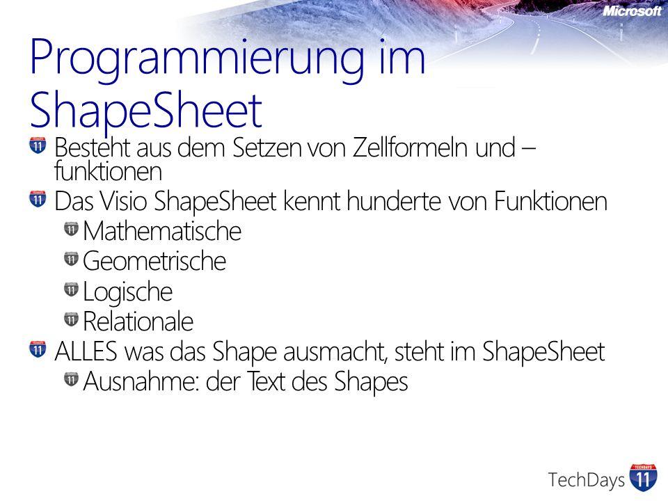 Programmierung im ShapeSheet Besteht aus dem Setzen von Zellformeln und – funktionen Das Visio ShapeSheet kennt hunderte von Funktionen Mathematische