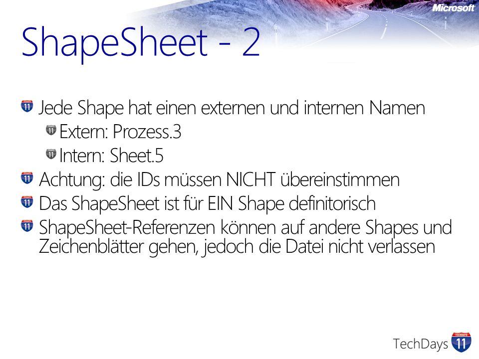 ShapeSheet - 2 Jede Shape hat einen externen und internen Namen Extern: Prozess.3 Intern: Sheet.5 Achtung: die IDs müssen NICHT übereinstimmen Das Sha