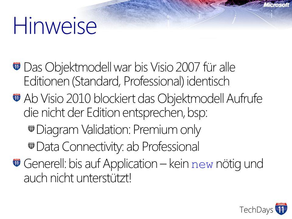 Hinweise Das Objektmodell war bis Visio 2007 für alle Editionen (Standard, Professional) identisch Ab Visio 2010 blockiert das Objektmodell Aufrufe di