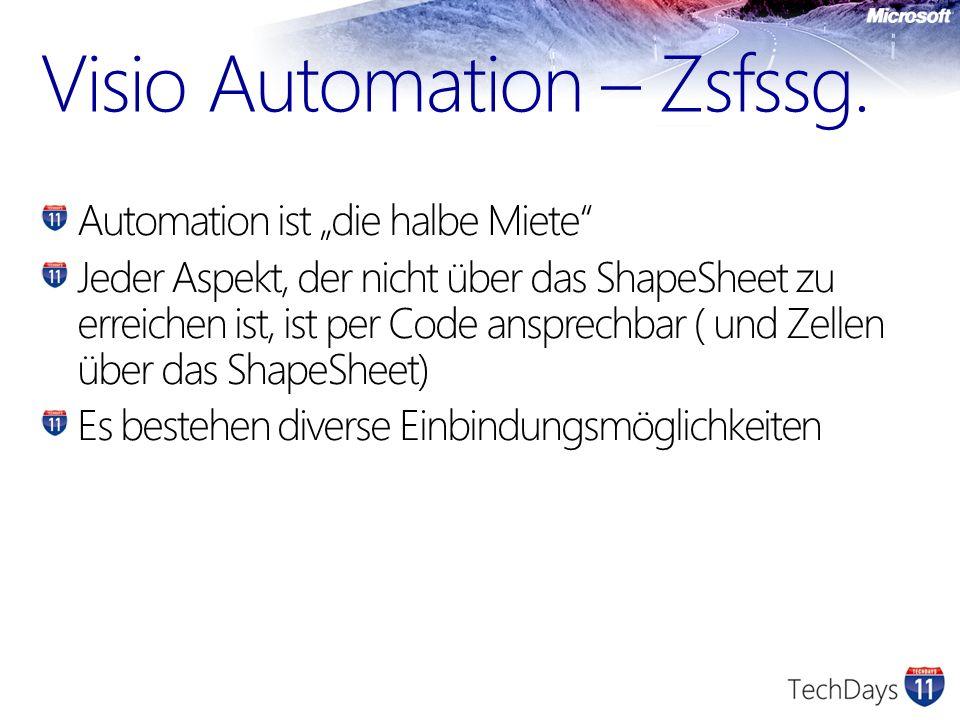Visio Automation – Zsfssg. Automation ist die halbe Miete Jeder Aspekt, der nicht über das ShapeSheet zu erreichen ist, ist per Code ansprechbar ( und