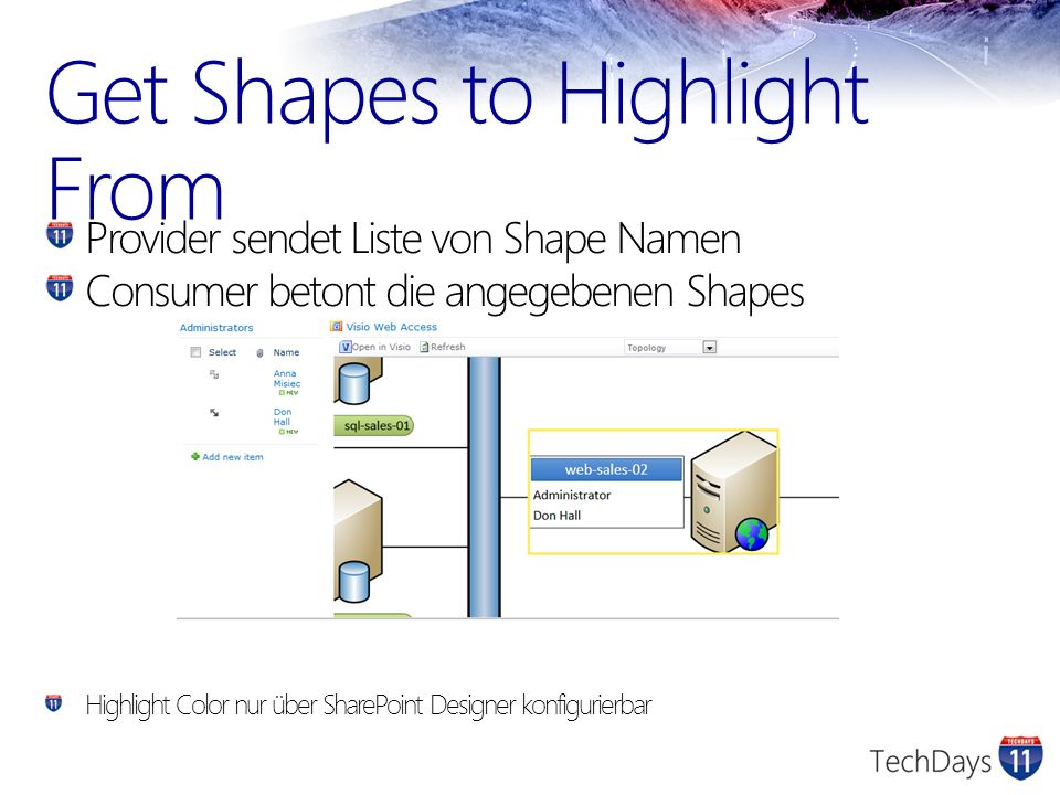 Get Shapes to Highlight From Provider sendet Liste von Shape Namen Consumer betont die angegebenen Shapes Highlight Color nur über SharePoint Designer