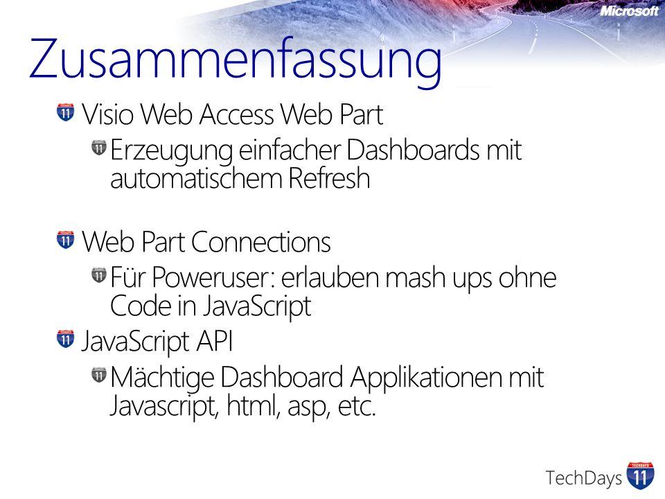 Zusammenfassung Visio Web Access Web Part Erzeugung einfacher Dashboards mit automatischem Refresh Web Part Connections Für Poweruser: erlauben mash u