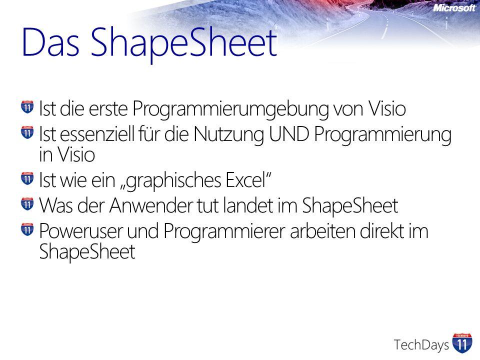 Ist die erste Programmierumgebung von Visio Ist essenziell für die Nutzung UND Programmierung in Visio Ist wie ein graphisches Excel Was der Anwender