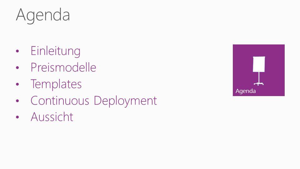 Reserved Mode kann günstiger sein Pay-as-you-go Skalierung in Sekunden SLA 99.95 % monatlich Windows Azure Dienste Templates