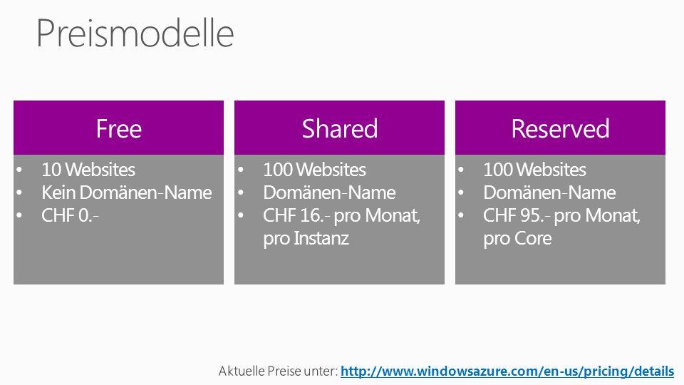 Windows Azure Preise https://www.windowsazure.com/de-de/pricing/calculator/ Kostenloses Testabonnement https://www.windowsazure.com/de-de/pricing/free-trial/ Demo Mobile Website http://www.windowsazure.com/en-us/develop/net/tutorials/aspnet-mvc-4- mobile-website/ Continuous Deployment Support with Git http://weblogs.asp.net/scottgu/archive/2012/09/17/announcing-great- improvements-to-windows-azure-web-sites.aspx Team Foundation Service http://tfs.visualstudio.com/ Web Matrix 2 http://www.microsoft.com/web/webmatrix/