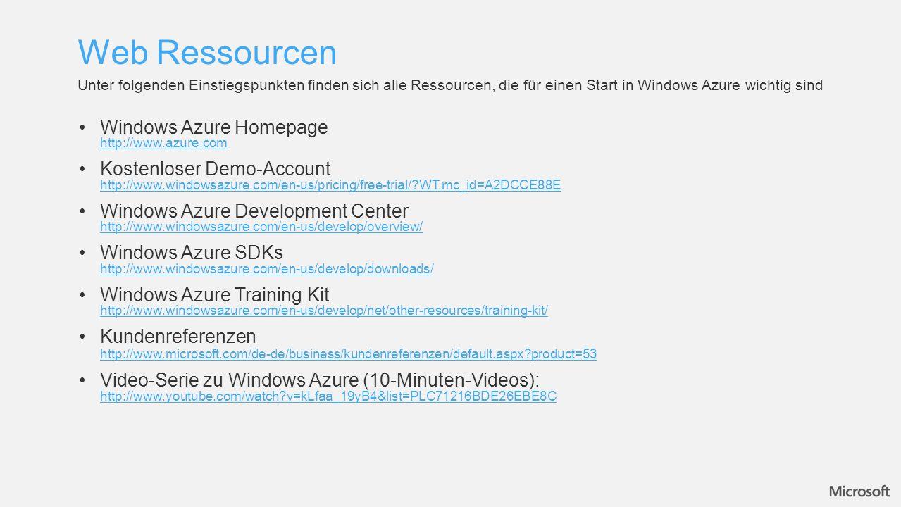 Web Ressourcen Unter folgenden Einstiegspunkten finden sich alle Ressourcen, die für einen Start in Windows Azure wichtig sind Windows Azure Homepage