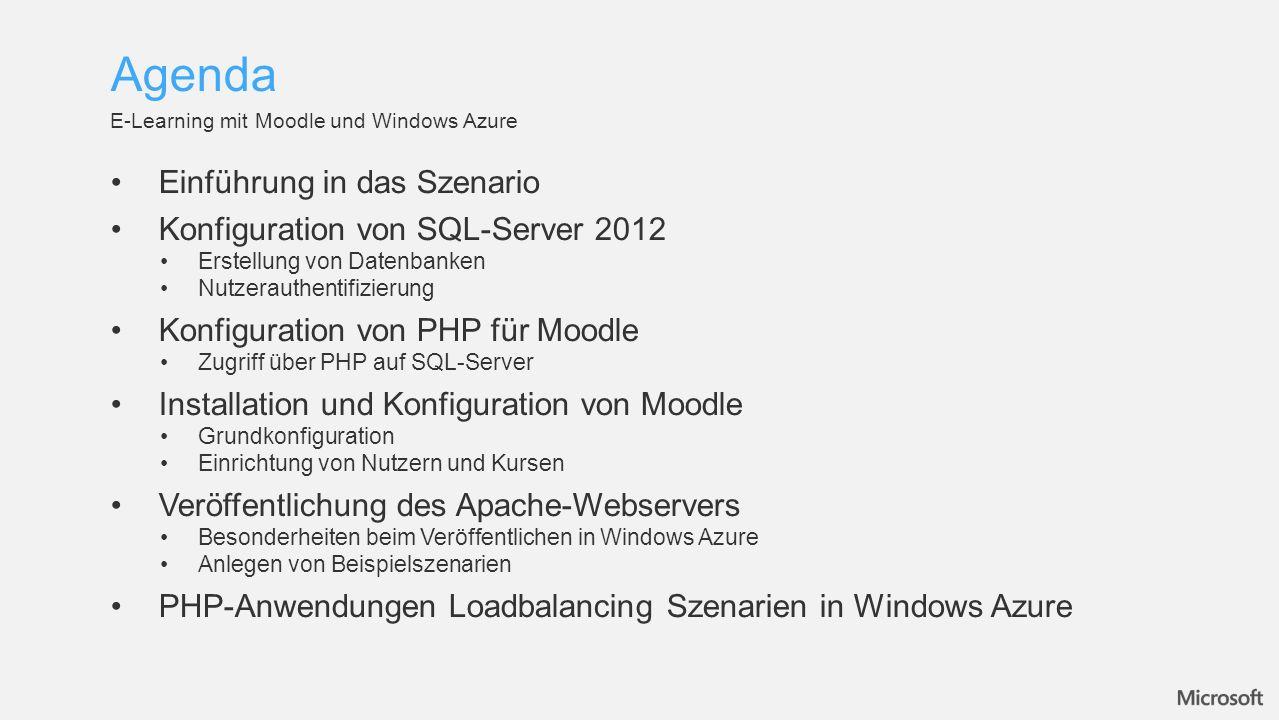 Einführung in das Szenario Konfiguration von SQL-Server 2012 Erstellung von Datenbanken Nutzerauthentifizierung Konfiguration von PHP für Moodle Zugri